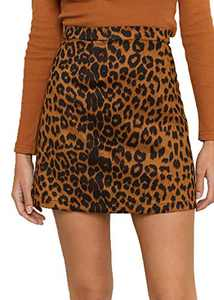 Mingnos Womens High Waist Faux Suede Leopard Print Mini Short Bodycon Skirts (Brown, M)