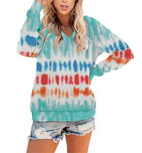Angerella Women's Winter Hoodies Tie Dye Color Block Casual Warm Pullover Sweatshirts Hooded Tops Shirt Blouses Water Blue X-Large