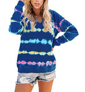 Angerella Women's Lightweight Tie Dye Hoodie Sweatshirts Casual Long Sleeve Pullover Hooded Tops Shirt Clothes Royal Blue X-Large