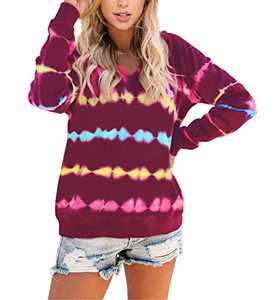 Angerella Women's Juniors Cute Tie Dye V Neck Long Sleeve Hoodie Sweatshirts Soft Color Block Hooded Shirt Tops Deep Rose Medium