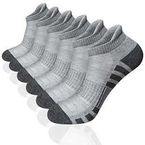 Airacker Ankle Athletic Running Socks Cushioned Breathable Low Cut Sports Tab Socks for Men and Women (6 Pairs) (Grey, Shoe Size: 9-12)