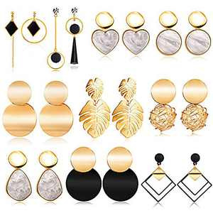 10 Pairs Statement Dangle Earrings for Women, Gold Stud Earrings & Drop Hanging Earrings Set for Girls, Fashion Big Geometric Jewelry Gifts