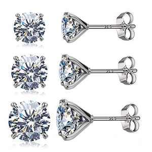 925 Sterling Silver Stud earrings Set | 18K Gold Plated Hypoallergenic Stud Earrings | Round Cubic Zirconia Stud Earrings for Women Girls Gift (platinum)