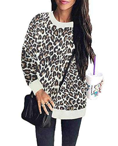 LuckyMore Cute Sweatshirts for Women Pullover Leopard Print Tops Loose Fit Long Sleeve Shirts Blouses L Camel
