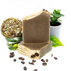 Natural Amor Men's Organic Soap Bar Set, Coffee Amor with Peppermint, Eucalyptus, Orange Essential Oils, Deep Cleanse, Natural Exfoliating Body & Facial Soap, Handmade in USA (2 Bars)