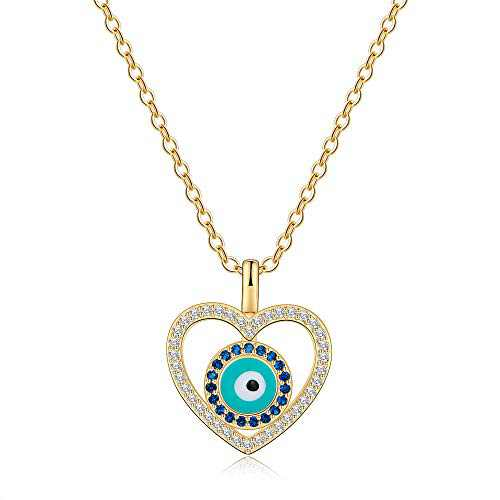 Ursteel Evil Eye Necklace for Women, 14K Gold Plated Cubic Zirconia Turquoise Heart Evil Eye Pendant Necklace Dainty Evil Eye Jewelry