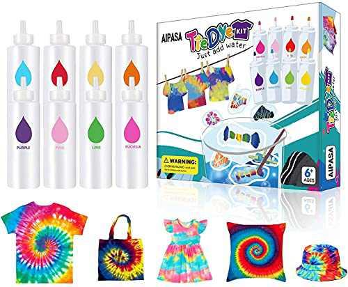 Tie Dye Kit for Kids, AIPASA Tye Dye Kit,16 Dye Packets,8 Color One-Step Tie Dye Party Fabric Dye Set