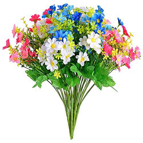 EverWin Daisies Artificial Fake Flowers Arrangements Bouquet for Home Decoration Table Centerpiece - Silk Faux Wild Colorful Flowers Daisy Bulk Bouquets with Stems for Crafts Outdoors (No Vase)