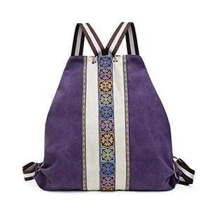 Canvas Backpack Purse for Women Vintage Casual Shoulder bag Lightweight Embroidery Daypack Bag for Lady Girls