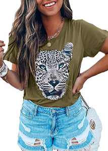 Sofia's Choice Women Tiger Tee Shirt Short Sleeve Graphic Round Neck Casual Cute Tops Brown Green Tiger S