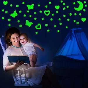 422 Pieces Glow in Dark Stars Moon Snowflake Butterfly and Hearts Fluorescent Plastic Wall Stickers Noctilucent Murals Decals Adhesive Glow Stars for Home Art Decor Kids Bedroom 3D Starry Sky