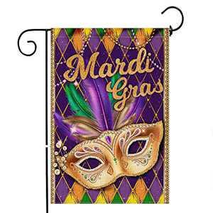 pinata Mardi Gras Garden Flag 12x18 Double Sided, Decorative Mask Burlap Yard Flag, Mardi Gras Party Outdoor Decoration, Seasonal Banners Decor