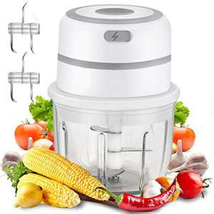 Cordless Electric Food Chopper,HI NINGER Mini Processor Garlic Chopper 300ML BPA-Free Glass Bowl Food Blender Nut Chopper For Meat Chili Onions/Pepper/Ginger/ IP68 Waterproof[Upgrade]