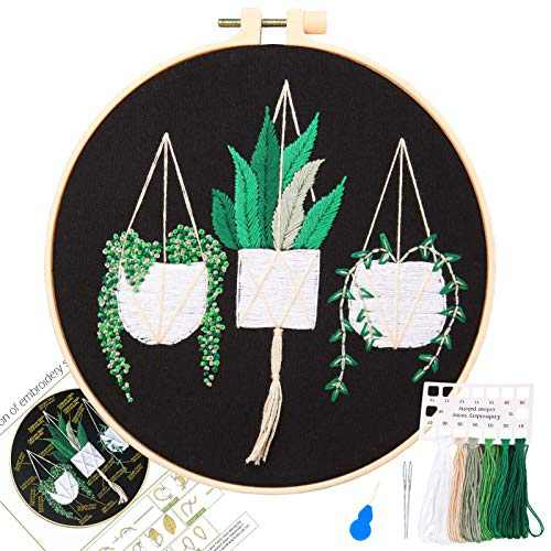 Beginners Hand Embroidery Materials Package Includes Embroidered Cloth Printed with Green Plant Series with Colored Thread Needle and Instruction Manual…