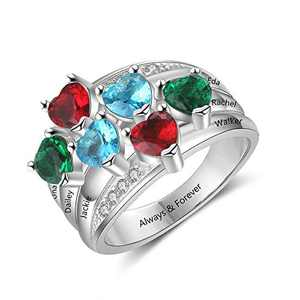 kaululu Personalized Sterling Silver Mother Rings for Women Size 6/7/8/9 Thick Ring for Grandma with Birthstone Charms 1-6 Names Engraved Custom Wedding Rings