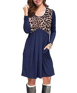 COCAOA Women's Long Sleeve Fall T Shirt Dresses Casual Swing Dress with Pockets Blue
