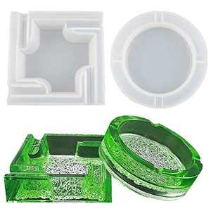 Leceha Resin Molds for Resin Casting Silicone Molds with Diamond Base Square and Round Large Size Resin Art Molds 2PCS