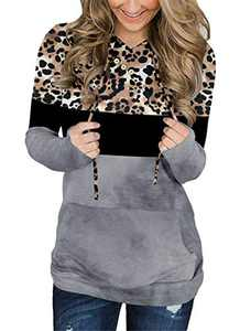KISSMODA Women's Long Sleeve Color Block Hoodies Casual Leopard Sweatshirts Loose Pullover Tops