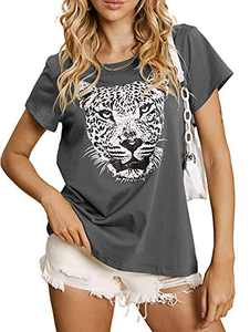 Sofia's Choice Women Tiger T Shirt Short Sleeve Graphic Round Neck Casual Tops Grey Tiger S