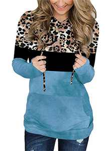 KISSMODA Women's Leopard Print Hoodies Color Block Pullovers Casual Long Sleeve Sweatshirts Blue
