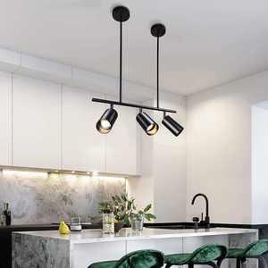ZICBOL Modern Black Pendant Light Ceiling, 100cm Adjustable Length Industrial Rustic Chandelier Ceiling Light, Kitchen Island Light LED Pendant Spotlight Lighting Ceiling for Living Room, Coffee Shop