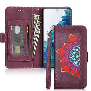 ELOVEN Wallet Case Compatible with Galaxy S20 FE 5G Case PU Leather Flip Case Kickstand Magnetic Closure Stylish Flower Protective Cover Card Holder Slot Case Compatible with Galaxy S20 FE 5G Wine Red