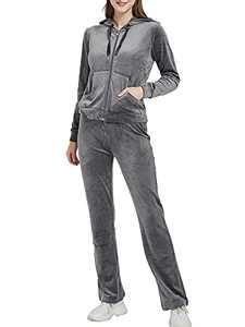 Woolicity Tracksuit Womens Sweatsuits Sweatshirt & Sweatpants Velour Zip Hoodie Sports Outfits Set Sportswear Dark Grey L