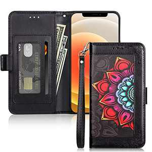 ELOVEN Wallet Case Compatible with iPhone 12/12 Pro Case PU Leather Flip Case Magnetic Closure Stylish Flower Protective Cover Card Holder Slot Case Compatible with iPhone 12/12 Pro 6.1 inch Black