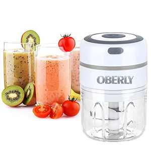 Vegetable Chopper, OBERLY Juicer, Garlic Chopper, Electric Portable Mixer, Garlic Press, Meat Grinder, With Battery 1500mAh, Food Processor For Onions Fruit Chili Meat Ginger Nuts Food -8.5 oz