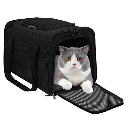 Airline Approved Cat Carrier, Soft Sided Collapsible Puppy Carrier with Locking Safety Zippers, Removable Fleece Pad and Pockets for Small Dogs Puppies Large Cat
