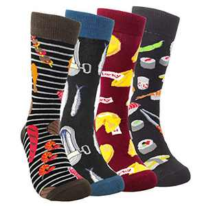 Mens Funny Food Pattern Dress Socks - HSELL Novelty BBQ & Herring Canned Crazy Design Cotton Socks Fun Gifts for Men Young Boy (4 Pairs - BBQ/Herring/Sushi/Lucky)