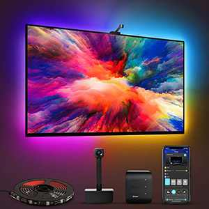 Govee Immersion TV LED Lights with Camera, RGBIC Ambient WiFi TV Lighting for 55-65 inch TVs PC, Works with Alexa & Google Assistant, App Control, Lights and Music Sync, Adapter