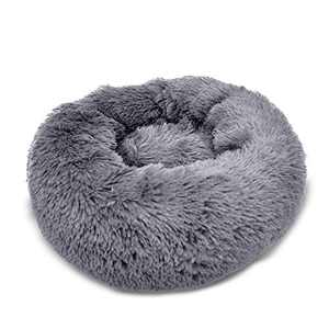 """FUNCIAL 28"""" Round Dog beds Puppy House Dark Gray, Self-Warming Donuts nest, Comfortable pet Bed Large Dogs, Machine Washable"""