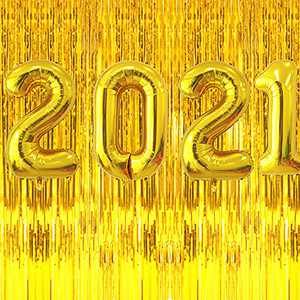 2021 Graduation Party Supplies Decoration 2021 Large Number Balloons Decorations Metallic Gold Fringe Curtain (PACK 1))