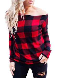 Avanova Women's Long Sleeve Plaid Off Shoulder Top Loose Pullover Shirt Blouse Black Red Medium
