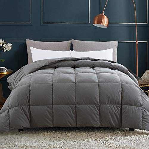Down Comforter Twin, Grey All Season Comforter, Goose Duck Down and Feather Filling, 100% Cotton Shell Duvet Insert, 68×90 Inch
