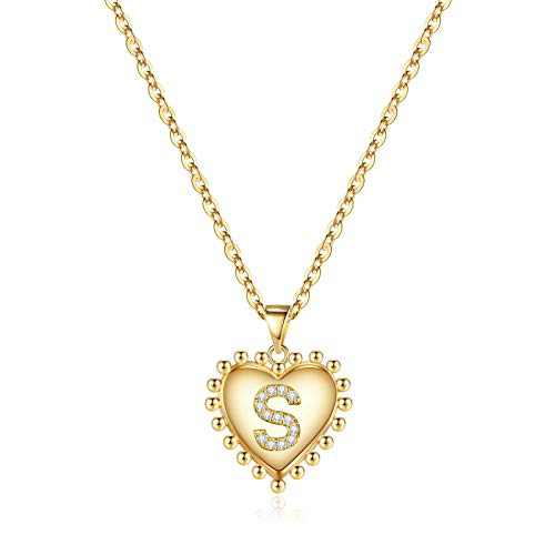 Initial Heart Initial Necklaces for Girls Jewelry, 14K Gold Filled Handmade Personalized Letter S Heart Necklace Adjustable Cubic Zirconia Heart Initial Necklace Gifts for Women Jewelry