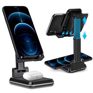 Wireless Charger,2 in1 Dual Wireless Charger Phone Stand,Adjustable Desk Phone Holder 10W Qi Fast Charger Compatible with iPhone 11/Max/Xs/Xr/X/8P,AirPods Pro,Samsung Galaxy S20/S10/S9/S8(Black)