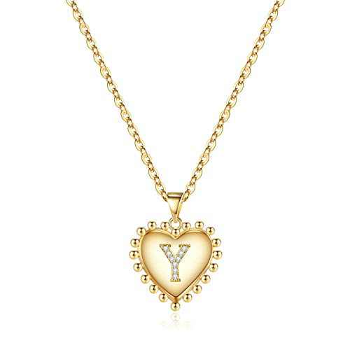 Birthday Gifts Heart Initial Necklaces for Girls, 14K Gold Filled Cubic Zirconia Dainty Heart Pendant Letter Y Necklace Handmade Personalized Initial Heart Necklace for Women Teen Girls Jewelry