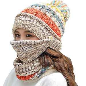 Fleece Lined Winter Hats for Women Knit Beanie Hat Scarf Mask Set Warm Soft Slouchy Skull Cap with Pom Pom (Beige)