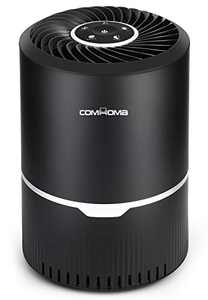 ComHoma Air Purifiers for Home HEPA Filter-3-Stage Filtration and Activated Carbon Ozone Free Air Cleaner Removes Smoke Dust for Bedroom Office with Filter Reminder and Sleep Mode Black