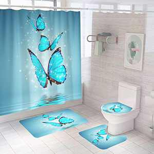 4pcs Blue Butterfly Bathroom Set with Waterproof Bath Curtain Non-Slip Bathroom Rugs Bath Mat Set Toilet Lid Cover Flower Shower Curtains with 12 Hooks,Butterfly Shower Curtain for Bathroom