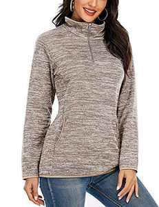 YQ.Cool Go Womens Sweatshirt Cute Quarter Zip Pullover Women Lightweight Sweaters for Women Quilted Pullover Sweatshirt Khaki L
