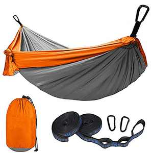 Love Story Camping Double Hammock with Tree Straps Portable & Lightweight Nylon Indoor Outdoor Backpacking Travel Grey Orange, 2 Persons