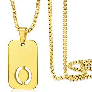 Gold Initial O Necklaces for Men Women, 18K Gold Filled Initial Necklaces for Men Monogram Capital Letter Pendant Necklace for Mens Jewelry Womens Gifts Chunky Stainless Steel Box Chain 22 Inch