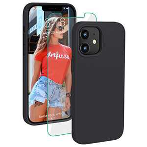 PROBIEN Compatible with iPhone 12/12 Pro Case 6.1 inch, Liquid Silicone Shockproof Phone Case with [Tempered Screen Protector], Gel Rubber Full Body Drop Protection Cover 2020-Black …