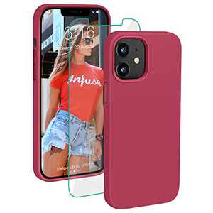 PROBIEN Compatible with iPhone 12/12 Pro Case 6.1 inch, Liquid Silicone Shockproof Phone Case with [Tempered Screen Protector], Gel Rubber Full Body Drop Protection Cover 2020-Rose Red …