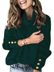Boncasa Womens Turtleneck Button Long Sleeve Knit Pullover Sweater Jumper Tops Dark Green 2BC78-molv-M