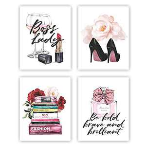 Eleville 8X10 Unframed Set of 4 Modern Fashion Woman Art Boss Lady Inspirational Quotes Saying High Heels Watercolor Art Print Inspirational Wall Art for Kids Room Nursery Decor wgn225