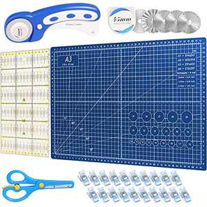 Timberrain 45mm Rotary Cutter Fabric Quilting Set, 5 Replacement Blades, A3 Rotary Cutting Mat, Acrylic Ruler, Scissors, 20Pcs Craft Clips, DIY Craft Rotary Cutter Tool Kit, Ideal for Crafting, Sewing